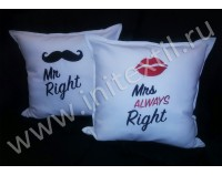 """Подушки декоративные с вышивкой """"Mr & Mrs"""""""