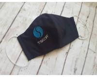 """Маска многоразовая чёрная с вышивкой логотипа """"Stekloff"""""""