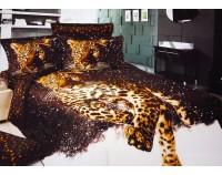 """Постельное белье """"Леопард в снегу"""" мако сатин 3D"""