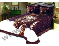 """Покрывало стеганое сатиновое 3D """"Леопард в снегу"""" с чехлами на подушки"""
