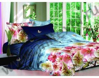 """Покрывало стеганое сатиновое """"Яблоневый сад"""" 3D с чехлами на подушки"""