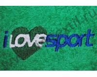 """Вышивка логотипа """"I love sport"""" на полотенцах"""