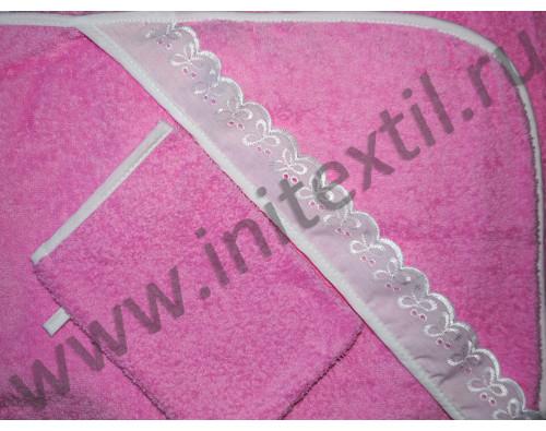 Уголок махровый для купания детский розовый