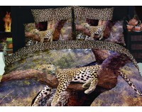 """Покрывало стеганое сатиновое 3D """"Леопард на дереве"""" с чехлами на подушки"""