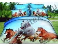 """Постельное белье """"Табун лошадей"""" мако сатин 3D"""