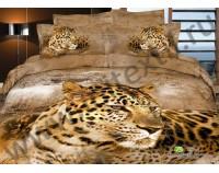 """Покрывало стеганое сатиновое 3D """"Леопард зимой"""" с чехлами на подушки"""