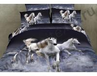 """Покрывало стеганое сатиновое 3D """" Белые лошади"""" с чехлами на подушки"""