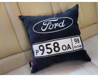 """Автоподушка с вышивкой логотипа """"Ford и номер"""""""