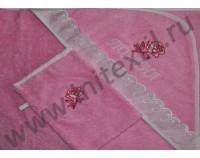 """Уголок махровый для купания с вышивкой """"Роза"""" розовый"""