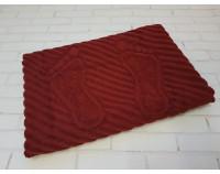 Полотенце коврик для ног махровый бордовый
