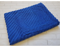 Полотенце коврик для ног махровый, синий