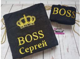 """Махровое полотенце с вышивкой """"Boss"""""""