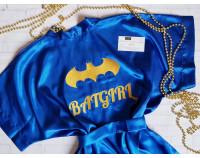 """Шелковый именной халат с вышивкой """"Batgirl"""""""