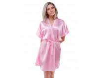 Шелковый халат розовый