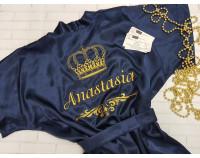 Шелковый именной халат с вышивкой короны 10 имени и вензеля