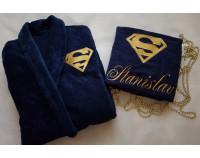 """Халат люкс с вышивкой логотипа """"Superman"""""""